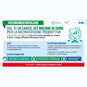 Economia circolare e riconversione produttiva: 217 mln di euro per ricerca, sviluppo e innovazione